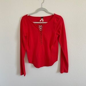 BNWT Free People long sleeve bright red, size S!